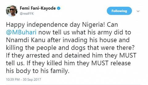 FFK Warns Buhari Again to Release Nnamdi Kanu's Dead Body