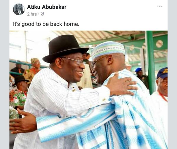 """It's Good to Be Back Home"", Atiku Abubakar Says as He Embraces Good Luck Jonathan"