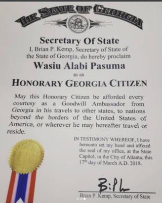 Nigerian Fuji Star, Pasuma Becomes an Honorary Citizen of Atlanta Georgia, USA