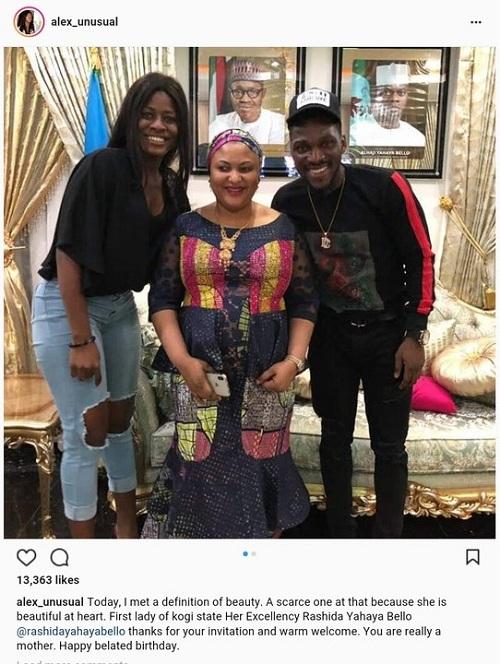 #BBNaija: Alex and Tobi Meet Kogi State First Lady, Rashida Yahaya Bello [Photos]