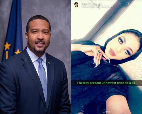 Attension seeking Bobrisky, steals U.S senator's picture for his sham wedding introduction [Photo]