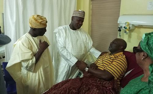 Photos as House of Reps Speaker, Yakubu Dogara, Visits Senator Dino Melaye in National Hospital