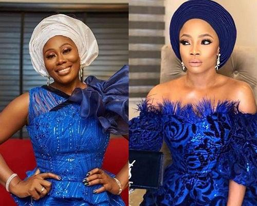 Photos of Toke Makinwa, Gbemi Olagbegi, Others as They Grace Mocheddah's Wedding in Blue Asoebi