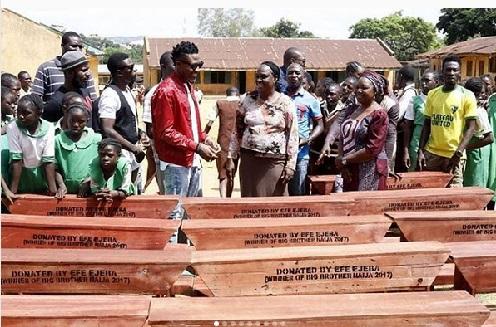 #BBNaija: 2017 BBN Winner, Efe Donates Classroom Desks to Primary Schools in Jos [Photos]
