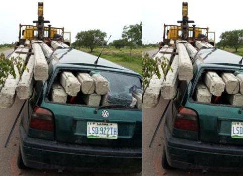 TRAGEDY!!!Electric Poles Rip through a Car in Kano [Photos]
