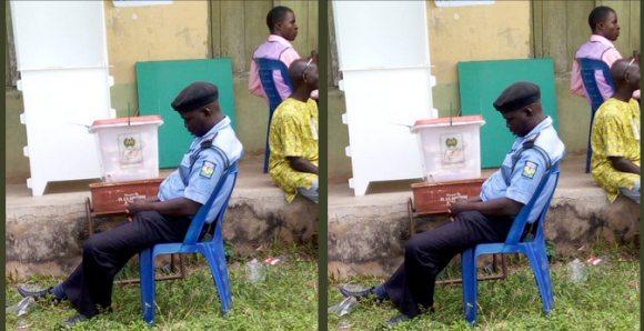 Ekiti Decides 2018: Policeman Spotted Sleeping While Watching Over Ballot Box [photos]