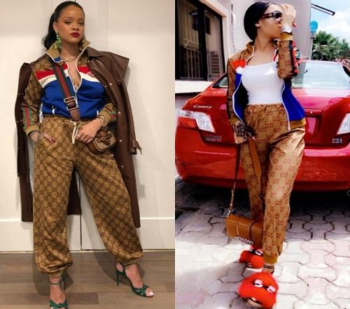 #BBNaija: Nina Rocks Gucci Outfit Similar to Rihanna's [Photos]