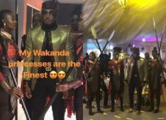 Lagos Socialite and Big Boy, Pretty Mike Storms DJ Consequence's Wedding With His Wakanda Princesses [Photos]