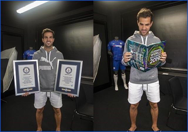Chelsea Midfielder, Cesc Fabregas Receives His Second Guinness World Record [Photos]