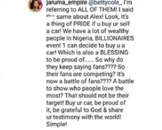Sex Therapist, Jaaruma Says Bambam Bought Herself a Car Not Fans, Slams Alex