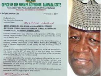 Breaking!! Ex-governor Abdul Aziz Yari writes Zamfara State Government To Demand Payment Of Allowance