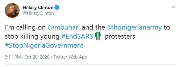 #ENDSARS: Hillary Clinton Calls Out Buhari & Nigerian Army, Asks Them to Stop Killing Killing Nigerian Protesters