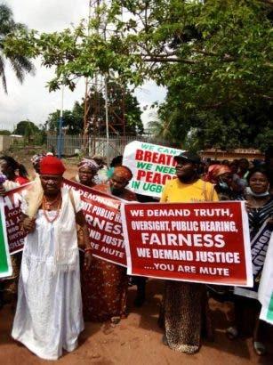 Delta Women Protest Against Regina Daniels Husband Ned Nwoko [Photos]