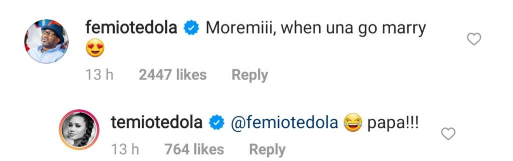 """""""When una go marry?"""" – Femi Otedola asks daughter Temi and Mr Eazi"""